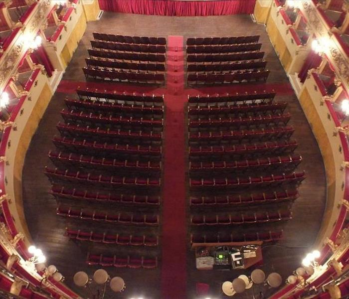 Overhead view of theatre with seats
