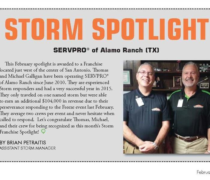 Storm Damage SERVPRO of Alamo Ranch recognized