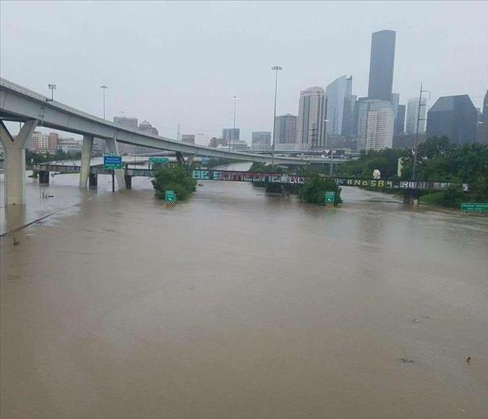 Flooded highways and bridges